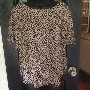 H&M Size 8 Leopard Flounce Sleeve Blouse